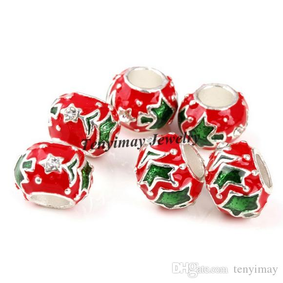 Christmas Tree Beads European Crystal Enamel Charm Beads For DIY ... b44177060c85
