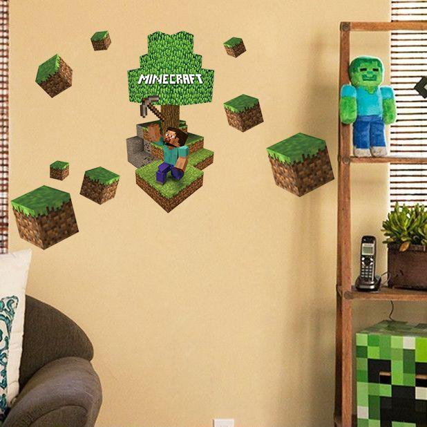 D Minecraft Wall Stickers Steve Decorative Wall Decal Cartoon - 3d minecraft wall decals