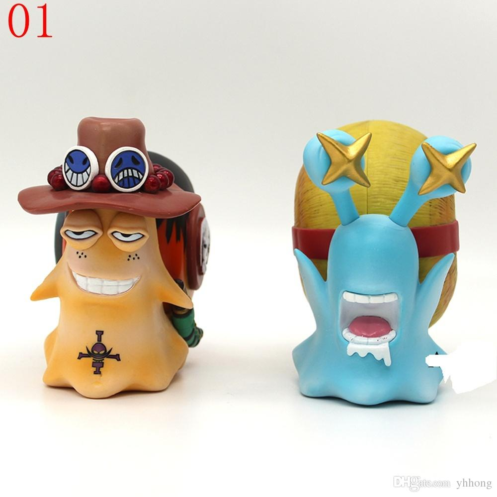 5inch Anime One Piece OP Luffy & Ace/Trafalgar Law + Doflamingo Den Den Mushi Telephone PVC Figures Toys Collection Figuarts Gift