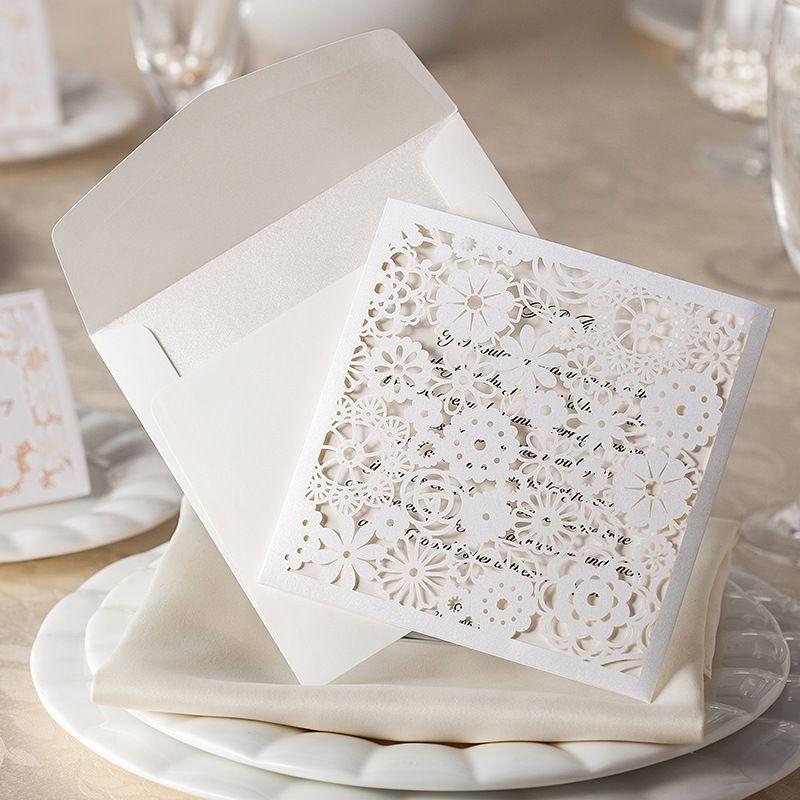 Laser Cut Garden Theme Wedding Invitations White Wedding Invitation ...