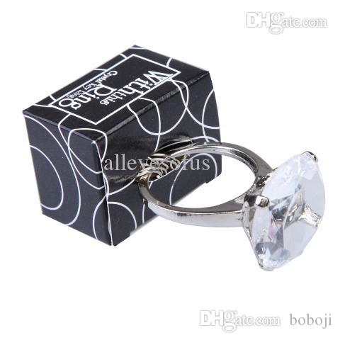 wholesale engagement ring keychain key chain wedding favors bridal shower favors gib ring pops in bulk chain ring jewelry ring key chain online with