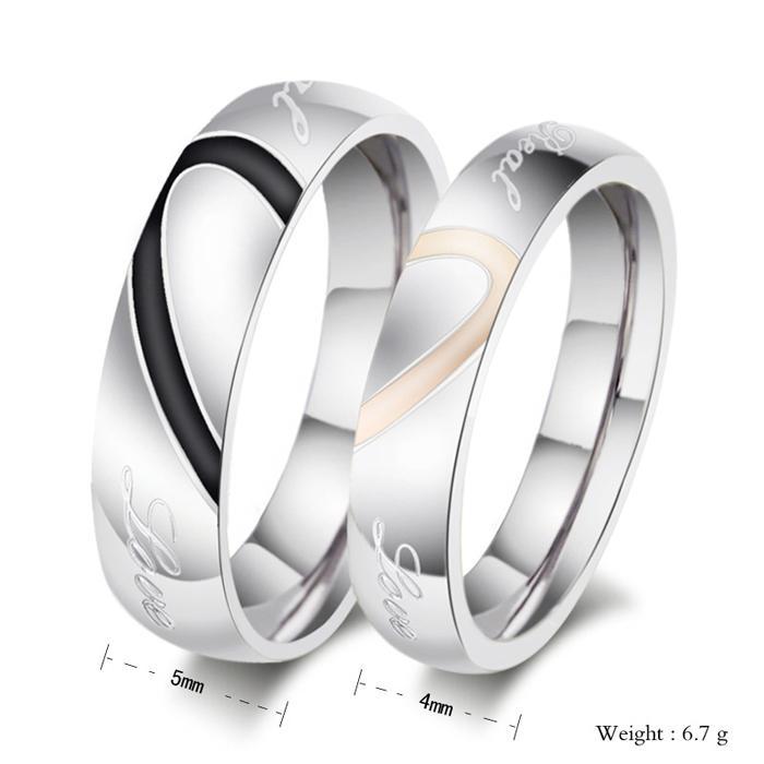 Обручальная пара кольца новый любовь Сердце 316L из нержавеющей стали 18KGP обручальные кольца Любовь кольца Бесплатная доставка