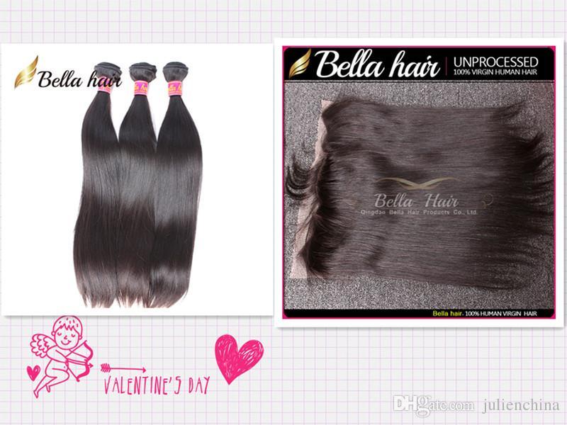 Bella Hair® 8A fasci di capelli brasiliani con chiusura orecchio all'orecchio chiusura frontale in pizzo seta serica corpo onda tessere con chiusura in pizzo
