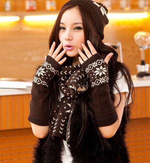 Knit winter scarf hat gloves for women snowflake print warm hat set