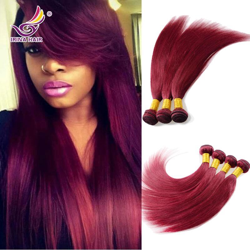 Malaysian Virgin Hair Straight Red 99j Color Burgundy Weaving Hair