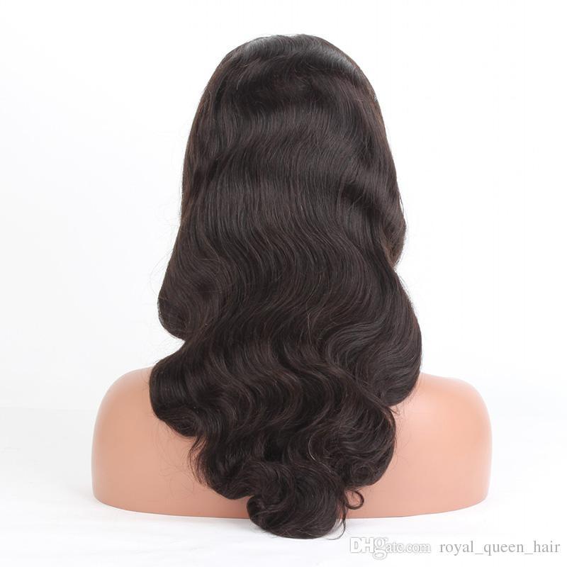 Оригинальные Девственные Человеческие Волосы Полный Парики Бразильский Перуанский Малайзийский Индийский Камбоджийский Тела Волны Кружева Фронтальные Парики Для Женщины Натуральный Черный