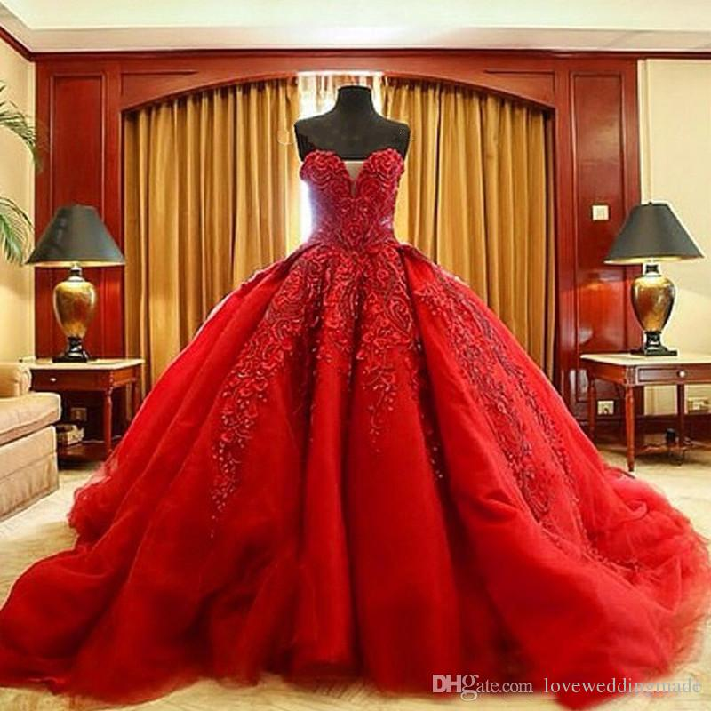 2018 Gorgeous Red Ball Gown Wedding Dresses Michael Cinco High