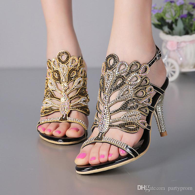 Stiletto Heel Sandals Strappy Summer Sandals Black Rhinestone Heels Sandals Wedding Bride Shoes Red Silver Prom Party Open Toe