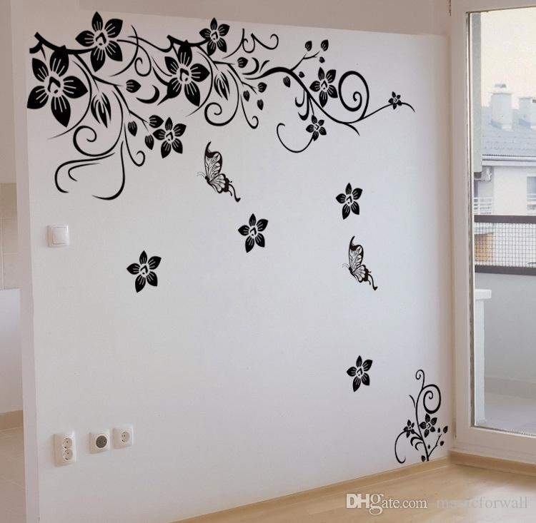 검은 꽃 포도 나무 벽 예술 벽화 장식 거실 침실 배경 벽 데 칼 스티커 홈 장식 벽 Applique 포스터