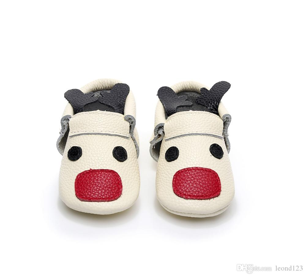 HONGTEYA New Christmas reindeer baby moccasin shoes Fancy unique toddler baby shoes newborn First Walker boot soft soled