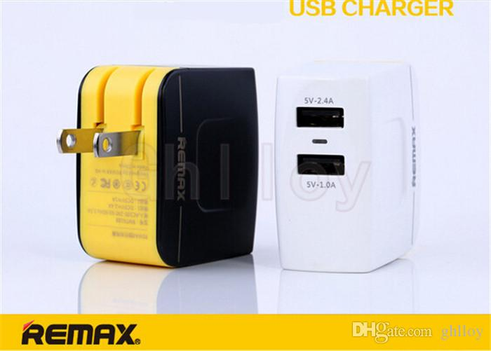 Original Remax 3.4A Fast Charging 12W Dual USB Power Adapter 1A Travel Wall Charger for iPhone 4s 5 5s 6 Plus iPad Air Galaxy S6 S5 Note 4
