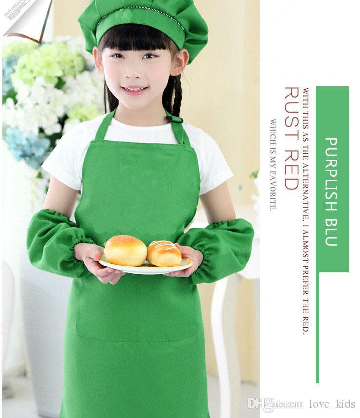es niños delantales de bolsillo scarft cocina para hornear arte pintura niños cocina comedor babero fuentes de cocina envío gratis