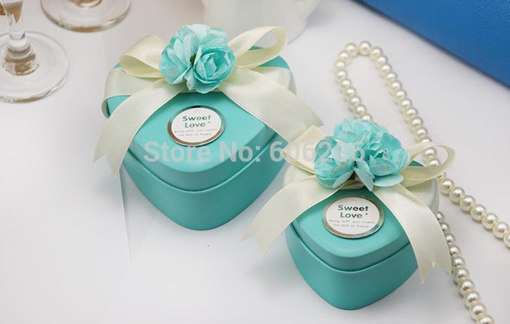 Wedding Favors Tin Candy BoxTinplate Heart Small Size Tiffany Blue