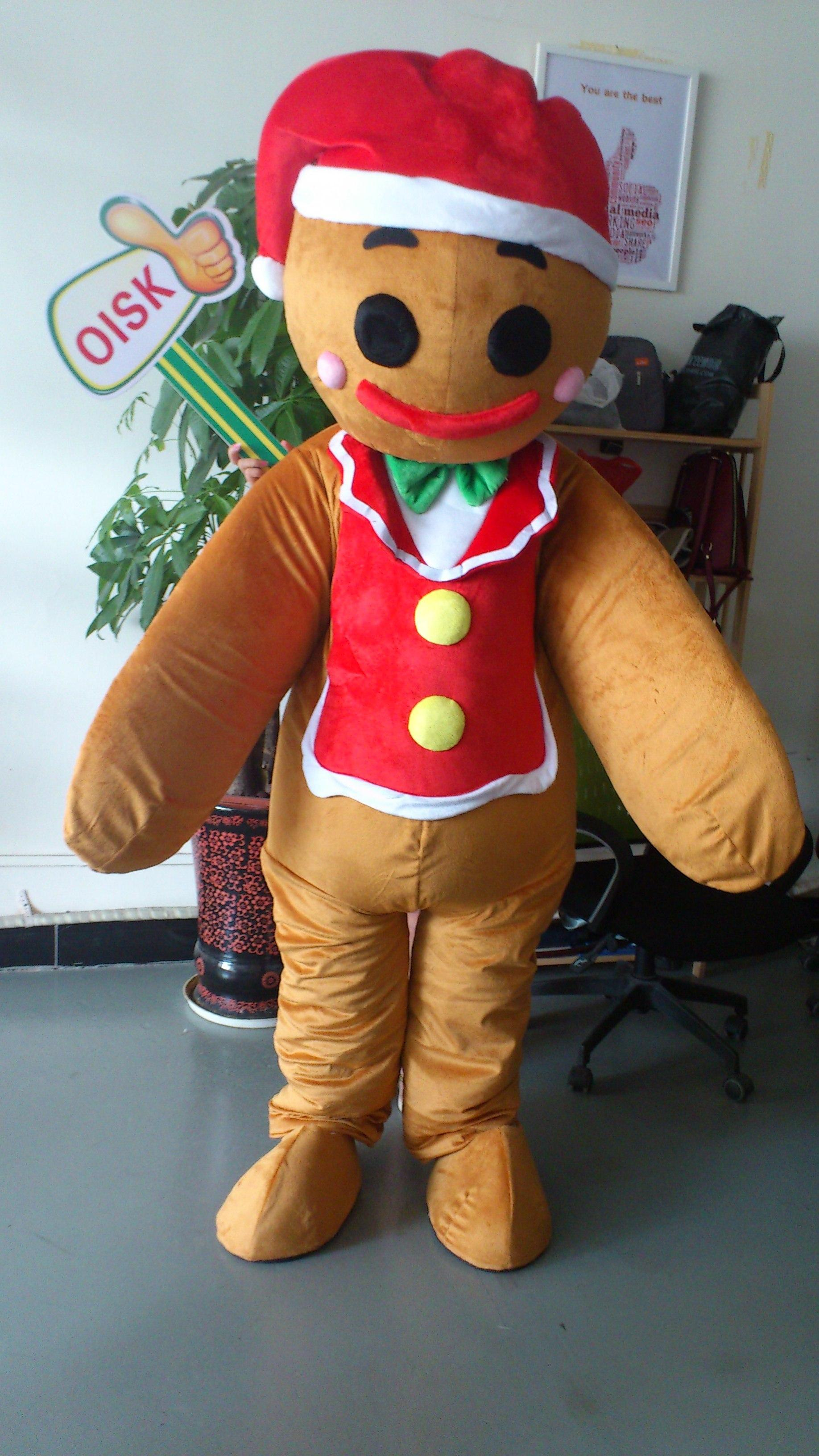 oisk the gingerbread man mascot costume halloween christmas xmas adult size outfit plush costumes fancy dress scary halloween costumes couple costumes from