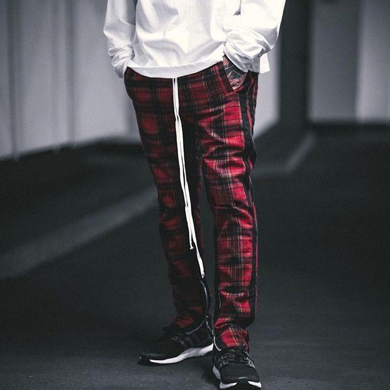 2019 Fog Sweatpants Side Velvet Scottish Plaid Inside Zip Up Slim