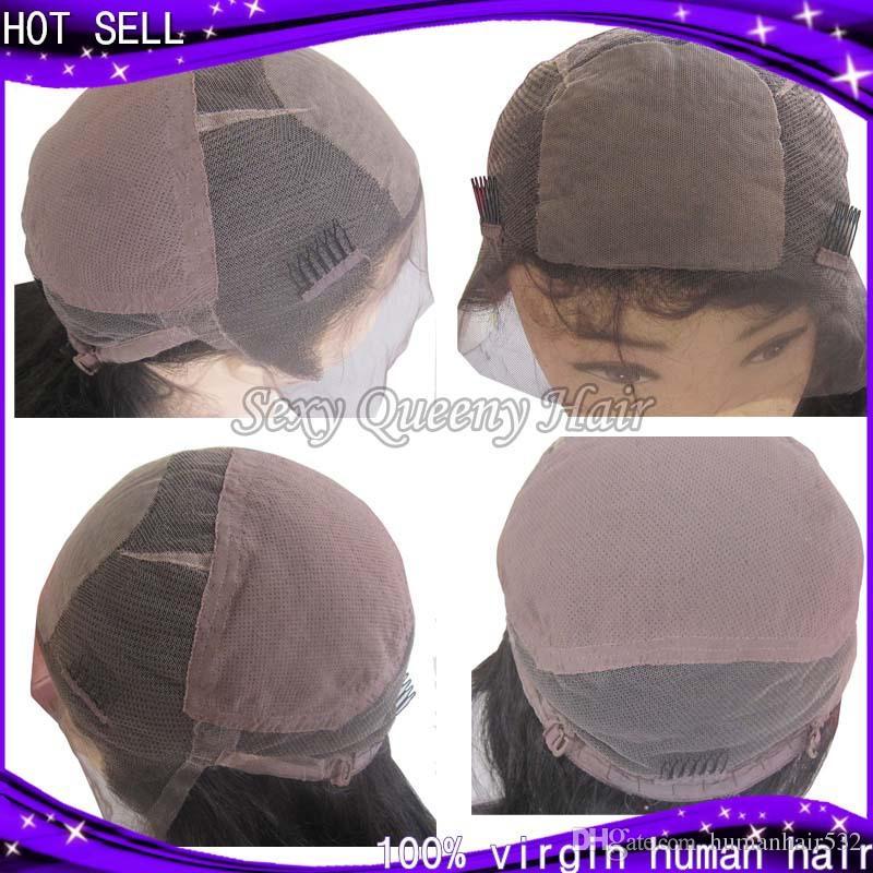 Körperwelle 4 * 4 Silk Top volle Spitze Perücken mit natürlichen Haaransatz mit Pony Silk Base Top Perücke Jungfrau peruanischen Lace Front Perücken
