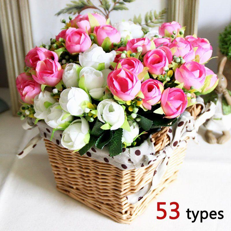 New 50 Types Rose Artificial Silk Flowers Bouquet Square Rattan