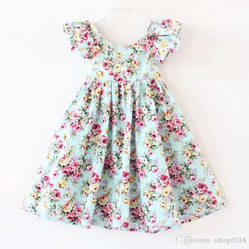 Cherry lemon Cotton backless girls floral beach dress cute baby summer backless halter dress kids vintage flower dress