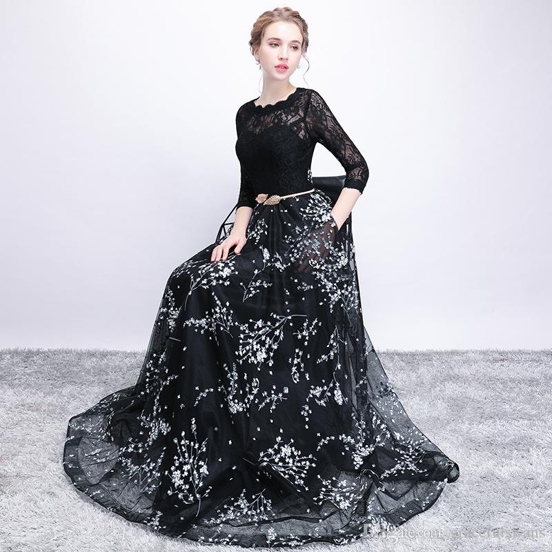 Three Quarter Sleeve A-Line Formal Dresses Scoop Top Black Lace with Red/White Print Flowers Gorgeous Evening Dress Gowns with Pockets
