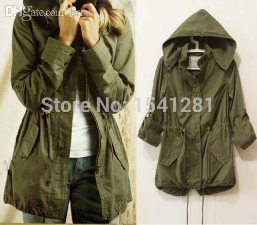 Wholesale New Womens Hoodie Drawstring Army Green Military Parka ...