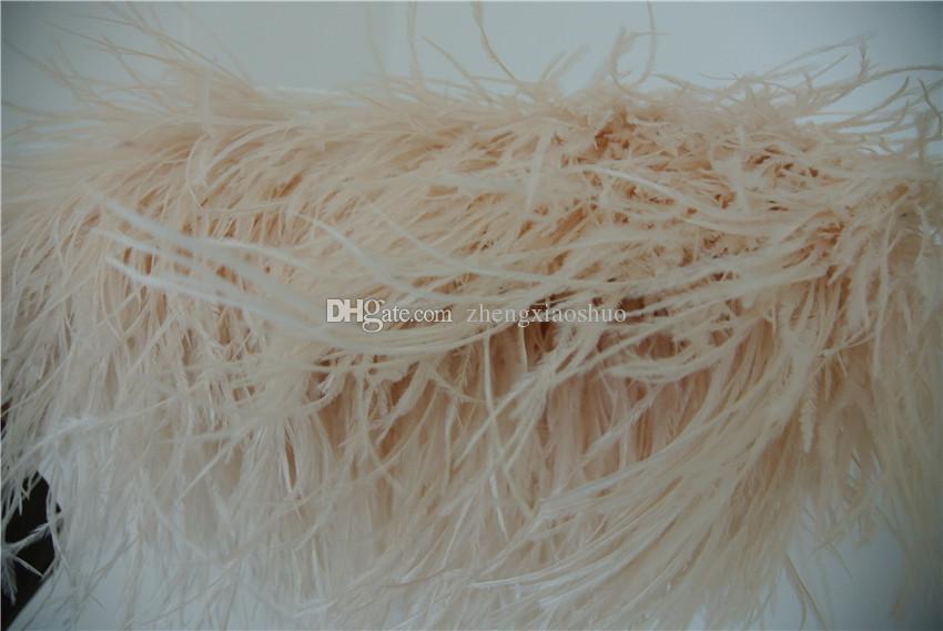 Spedizione gratuita-10 yards / avorio piuma di struzzo piuma frangia 5-6 pollici in larghezza artigianato matrimoni cucito