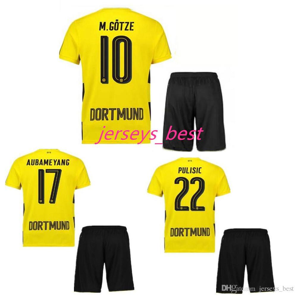 886ce8827 Compre Camiseta De Fútbol De Calidad Superior 2017 2018 Reus Aubameyang  Jersey Pulisic Sakin Dembele Gotze 17 18 Camiseta De Fútbol De Jersey Set A   15.99 ...
