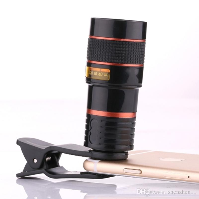 8X Magnification Mobile Phone Zoom Telescope Magnifier Optical Camera Lens For iPhone Samsung Galaxy DHL Free OTH147