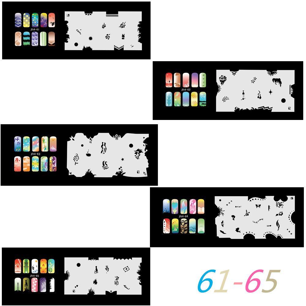 2017 New Fashion Airbrush Nail Stencils Set 61-80 Tools Diy Airbrushing 20  x Template Sheet for Airbrush Kit Nail Art Paint