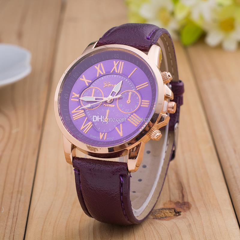 패션 합금 남자는 로마 숫자 제네바 여성 드레스 시계 가죽 쿼츠 캐주얼 아날로그 손목 시계 몬트르 여성