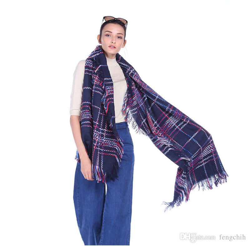 Eşarp Unisex Kaşmir Basit Klasik Ekose Altı Renkler Karışık Kızlar Sıcak Atkılar Kış Yeni Gelenler Döngüler 180 cm x 60 cm Büyük Boy Sarar S41