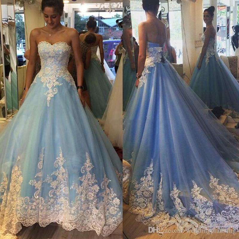 0339c20abfb3 2017 Light Sky Blue Ball Gown Prom Dresses Sweetheart White Appliques Tulle  Long Quinceanera Dress Sweet 16 Dresses Sweep Train Back Lace Up Prom  Dresses ...