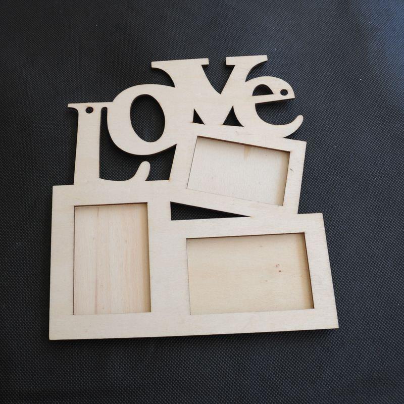 Новая Полая Любовь Деревянная Семейная Фоторамка Rahmen White Base Art DIY Home Decor 2016 горячая распродажа