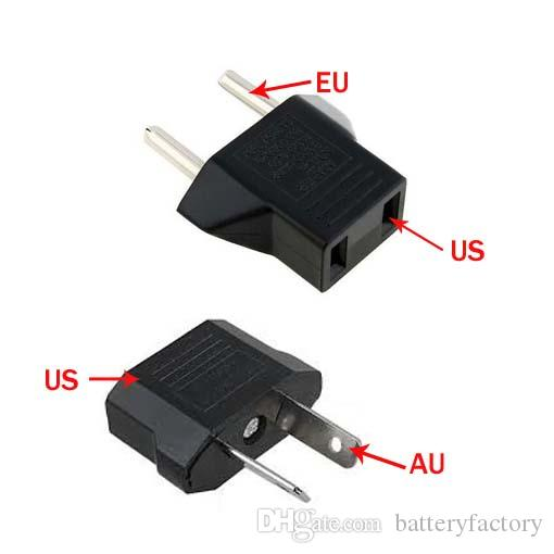 Free Epacket, US/EU to EU AU AC Power Plug Converter Adapter Adaptor USA to European Black Plastic Travel Converter Max 2200W Two Pins