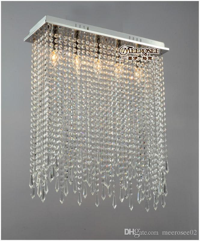 Rectangle Shape Crystal Ceiling Lights Fixture Clear Curtain Crystal Light  lustres Lamp for dining room and bedroom MD10039