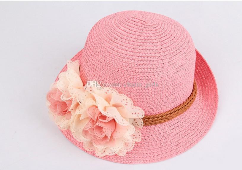 Meninas linda linda chapéu de sol! Flor Do Bebê Chapéus de Sol Crianças Palha Chapéu Fedora Tampas Do Bebê Meninas Chapéu de Sol Crianças Chapéu de Verão Cap Jazz