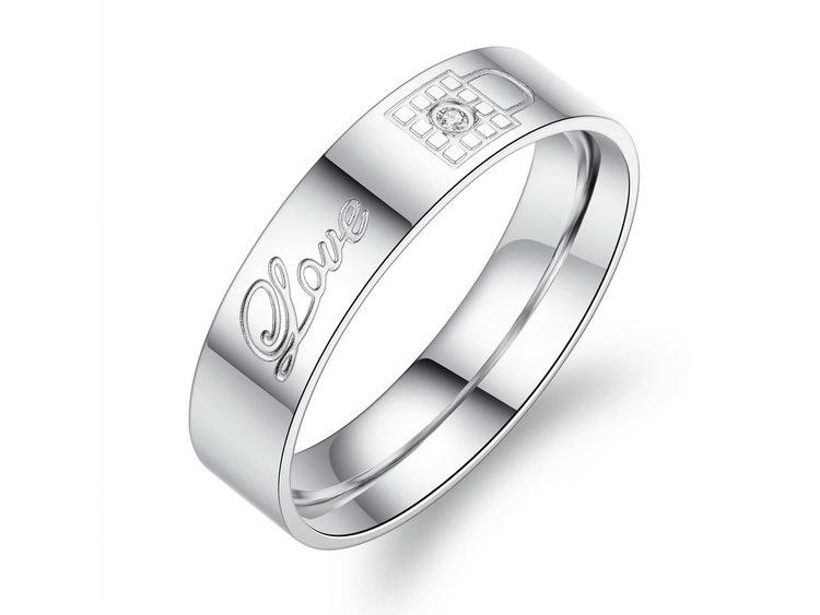 OPK Stainless Steel Couple Rings Korean Jewelry lock/key his and hers promise ring sets 316L Lover Rings
