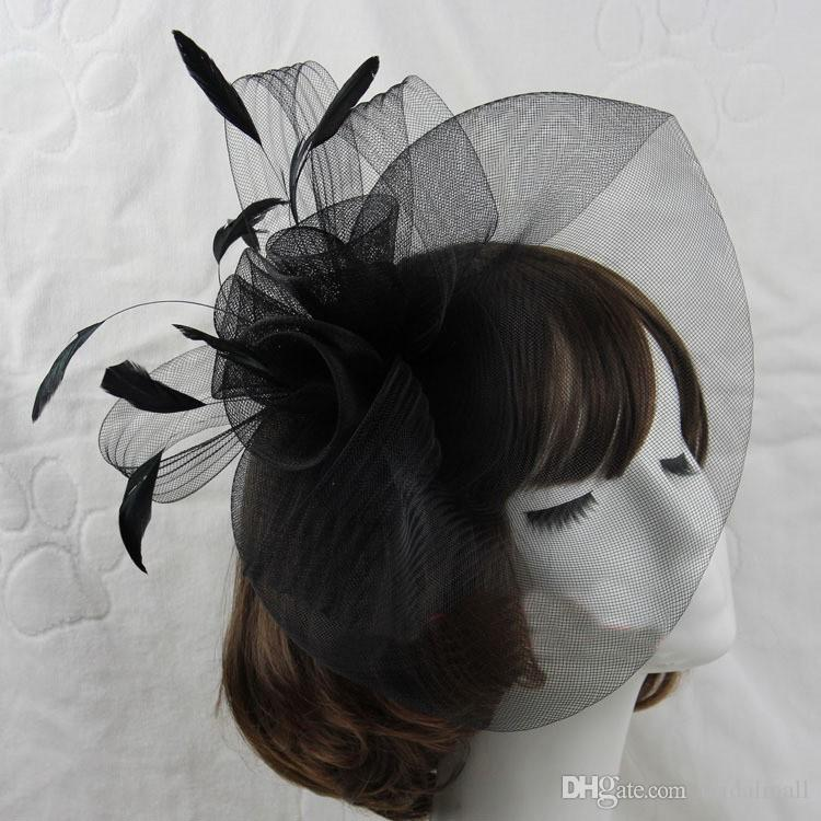 Hot Sale black Bird cage Net Wedding Bridal Fascinator Hats Face Veil Feather black Flower for party accessory