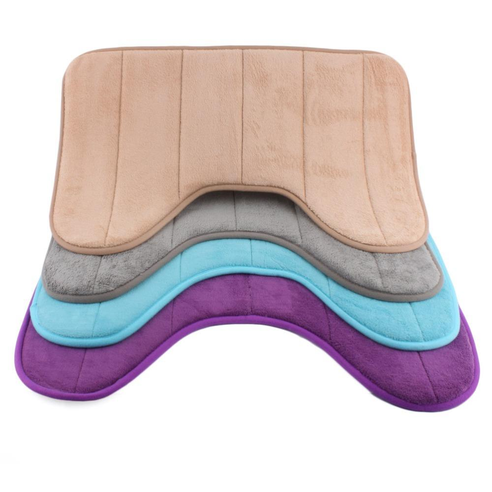 best 40*60 cm u shaped memory foam bathroom bath mats coral fleece