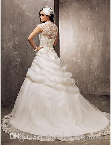 2016 New Hot Fashion Elegant Ball Gown Ivory Sweep/Brush Train Strapless Appliques Organza/Lace Luxurious Wedding Dresses 155