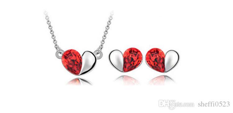 18 K conjunto de Jóias de Cristal Austríaco Sussurro de amor Colar Brincos Amor todo o jogo de Jóias Brincos de Coração de Chuva Colar Conjuntos de Jóias 8064