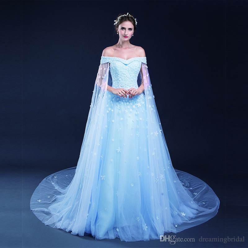 cbb316fe107 Discount Luxury Light Sky Blue A Line Wedding Dresses Flower Lace Applique  Lace Up Tull Off The Shoulder Bridal Dresses Wedding Gown Custom Made A  Line ...