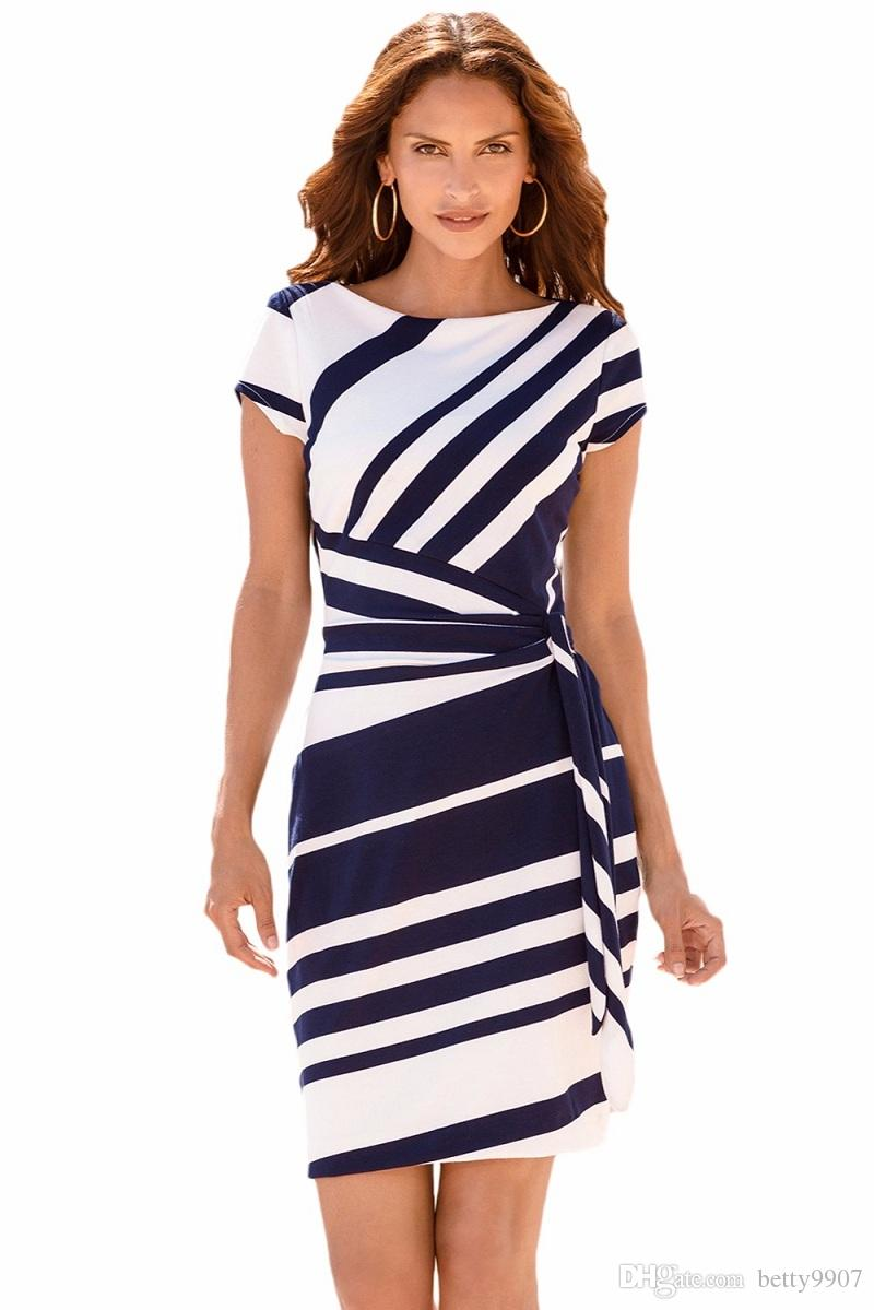 New 2018 Office Work Dresses Designer Women Clothes Pencil Stripe Knot  Sheath Party Dress Vestidos Robes Casual Spring Summer Autumn Knit  Sundresses ... 867f58dfd25d