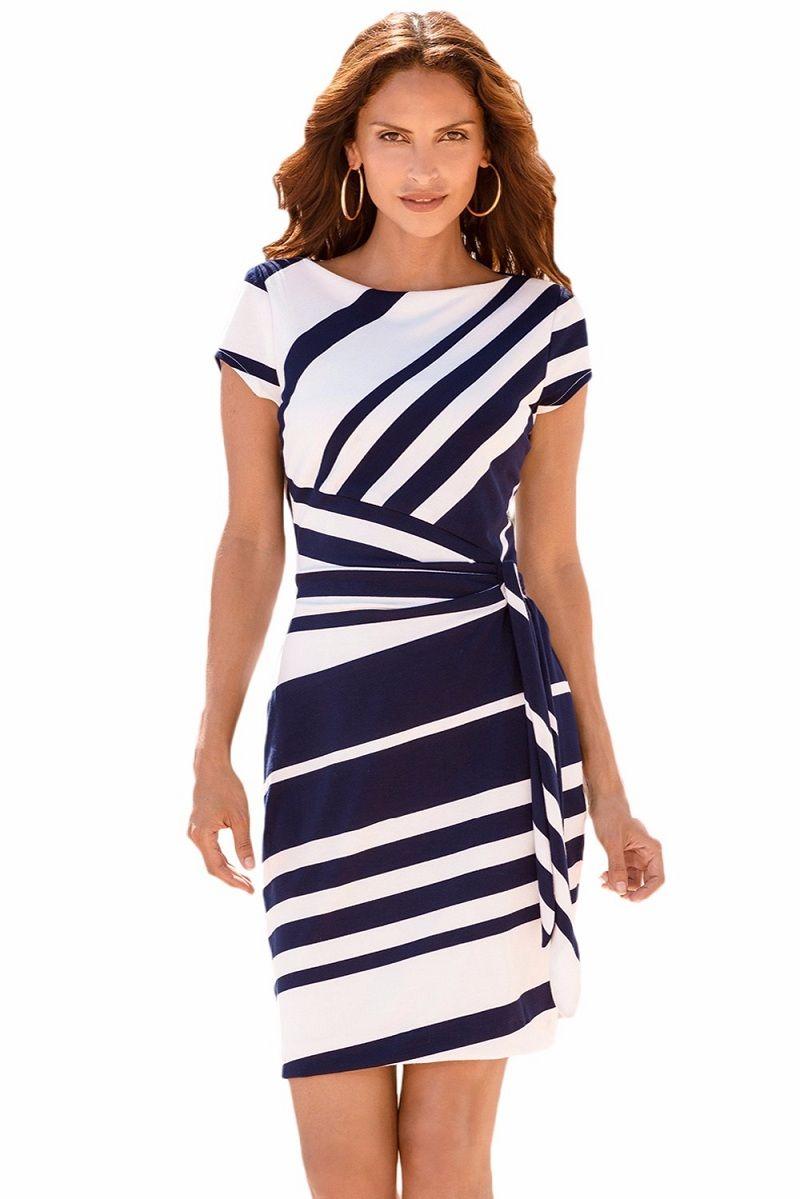 7f0375e6e8 Novo 2018 escritório vestidos de trabalho designer de roupas femininas  Lápis Stripe Nó Bainha Vestido de Festa Vestidos Vestes Casuais Primavera  Verão ...