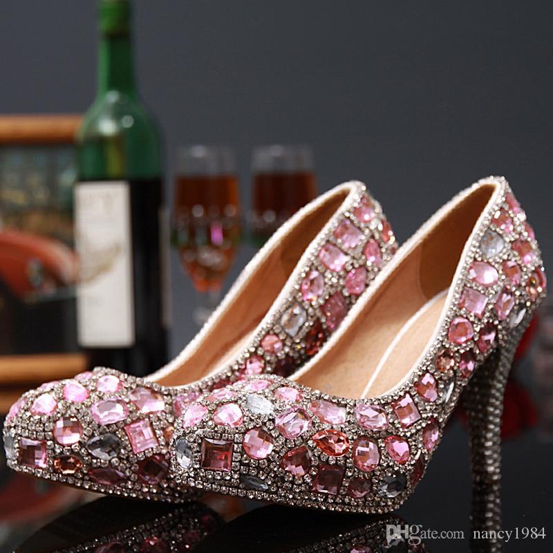 Новое Поступление Shinny Розовый Кристалл Rhinestone Высокие Каблуки Обувь Мода Роскошные Дамы Круглый Toe Свадебные Платья Обувь