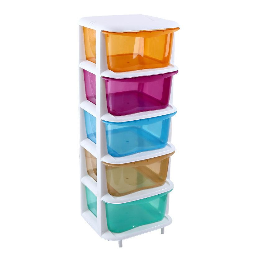 Plastic Drawer Storage Cabinets Lockers Five Transparent Plastic Childrens Clothing Candy Color Finishing Cabinet
