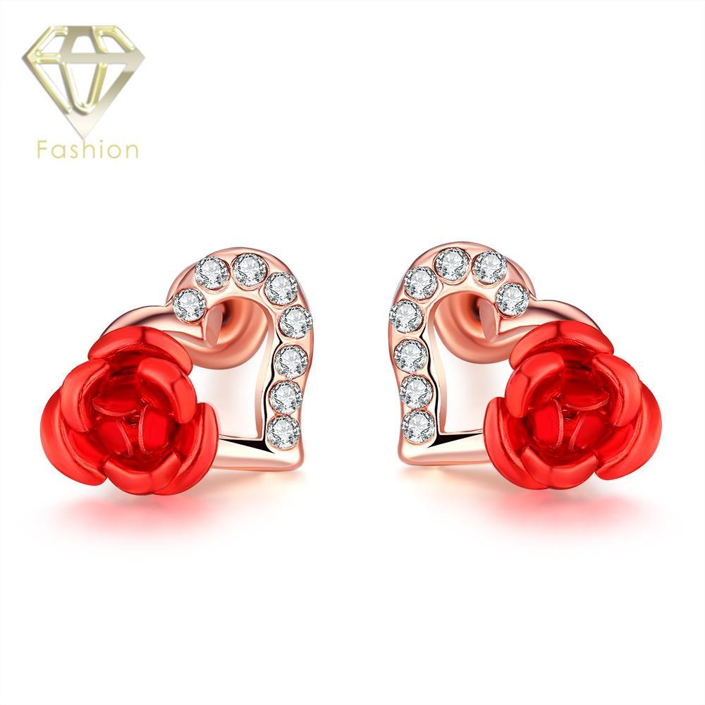 Acosta - Antique Gold Coloured - Crystal Rose Flower Stud Earrings 3u1sxEAkx