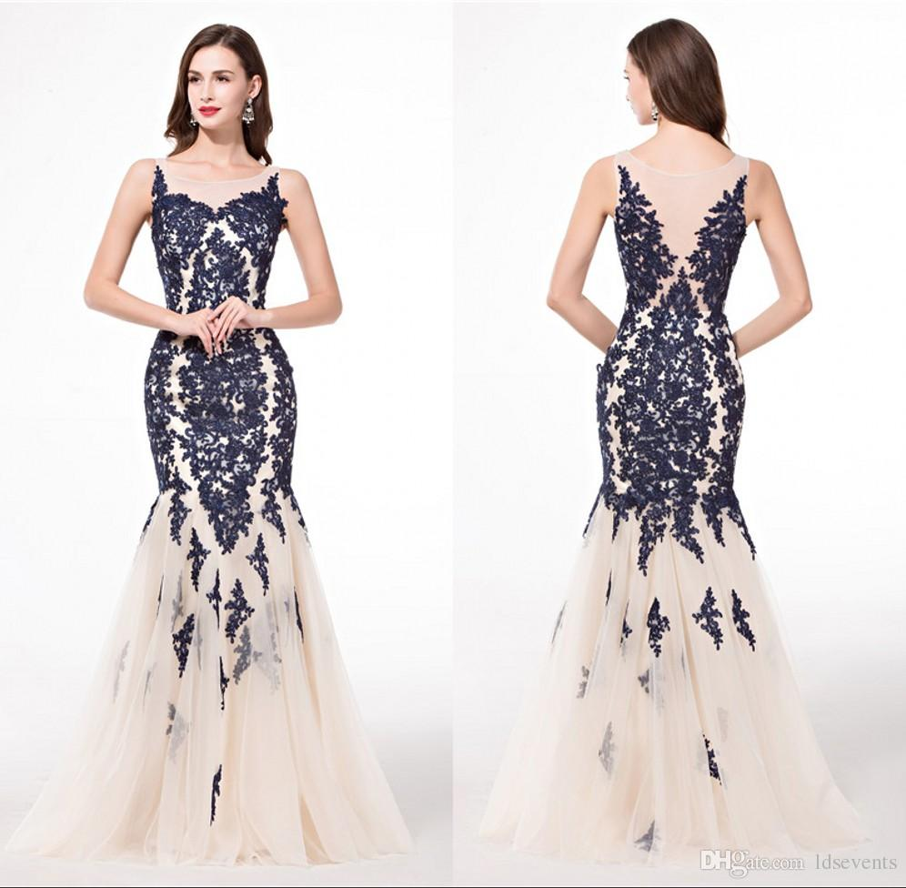 Wholesale Navy Blue Mermaid Lace Evening Dresses Women Formal ...