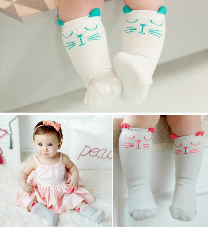 Dhl Ems Wear Lovely Baby Girls Cat Knee High Socks Children Leg