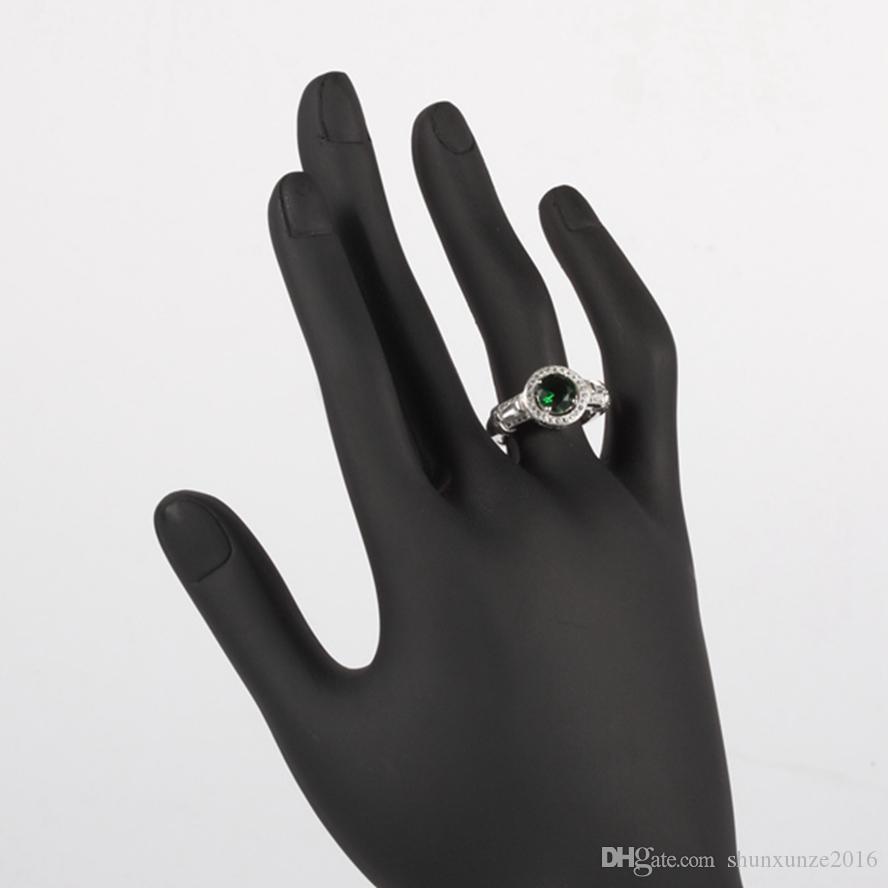 Shinning 펑크 레이브 리뷰 고귀한 관대 S - 3786 sz # 6 7 8 9 매력 짙은 녹색 큐빅 지르코니아 여성 반지에 대한 좋아하는 925 스털링 실버