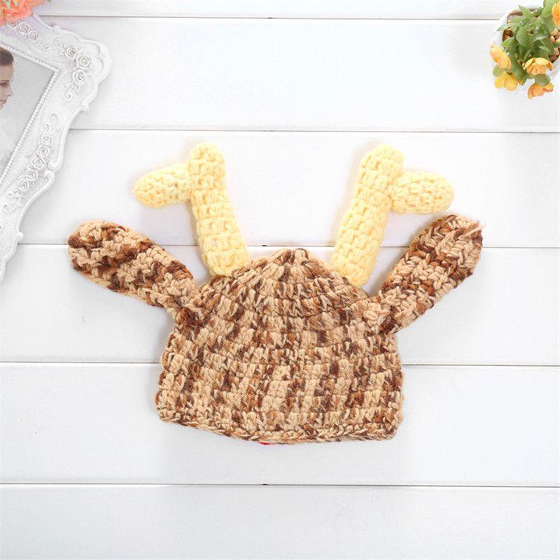 Newborns Handmade Crochet Deer Horn Hat Cute Baby Deer Antler Knitting hat for Photo props Christmas gifts for 0-1T B11